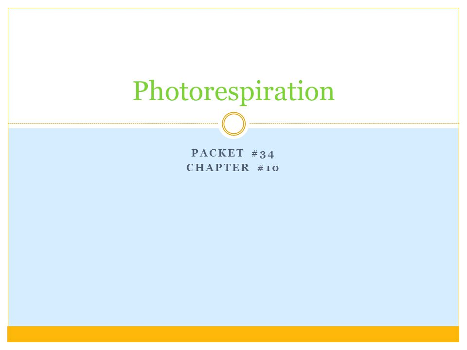 PACKET #34 CHAPTER #10 Photorespiration