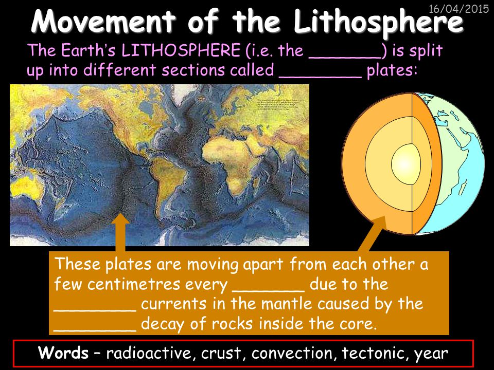 16/04/2015 Movement of the Lithosphere The Earth ' s LITHOSPHERE (i.e.
