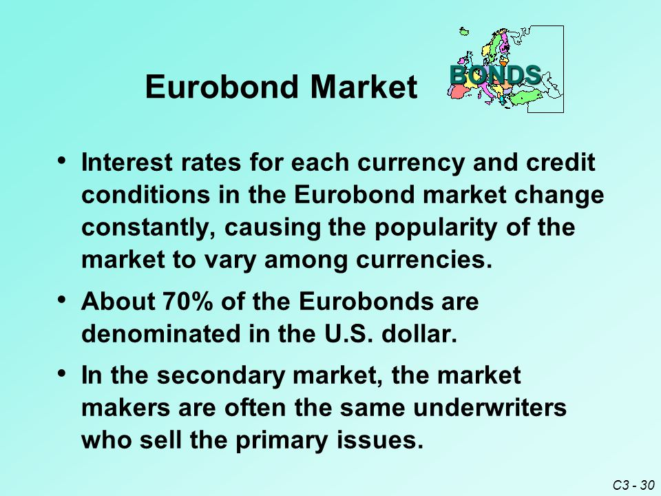 C3 - 30 Interest rates for each currency and credit conditions in the Eurobond market change constantly, causing the popularity of the market to vary among currencies.