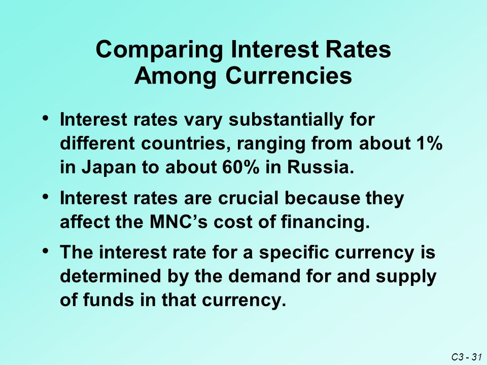 C3 - 31 Comparing Interest Rates Among Currencies Interest rates vary substantially for different countries, ranging from about 1% in Japan to about 60% in Russia.