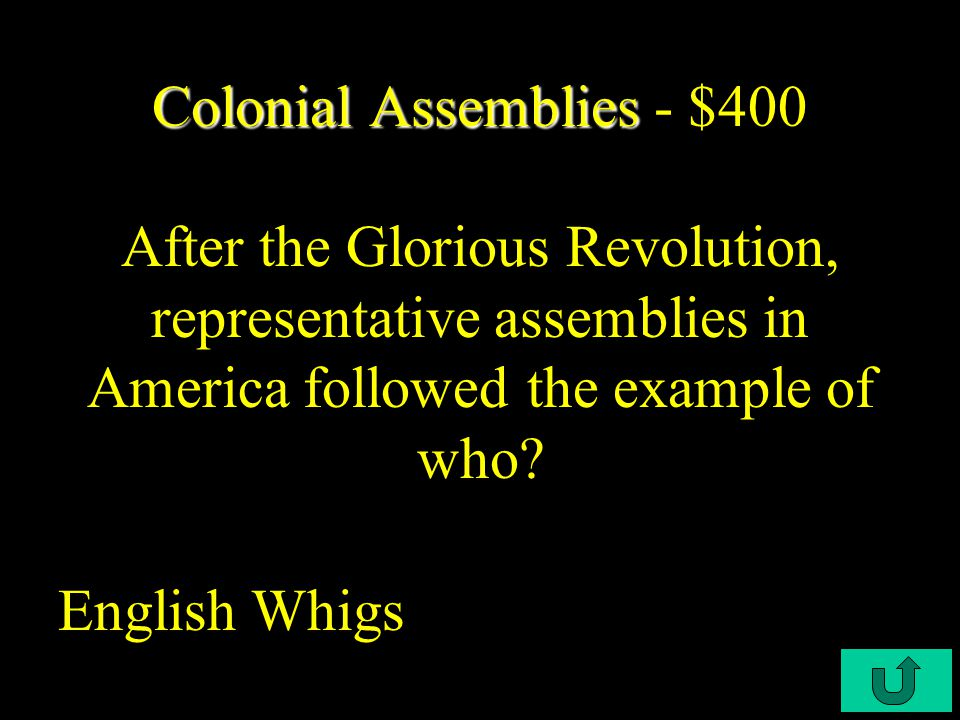 C3-$100 Colonial Assemblies Colonial Assemblies - $200 What was the parliamentary assembly in Virginia.