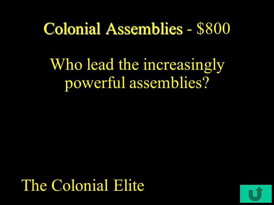 C3-$300 Colonial Assemblies Colonial Assemblies - $600 In Massachusetts during the 1720s, the assembly ignored the King's instructions to provide the royal governor with what.