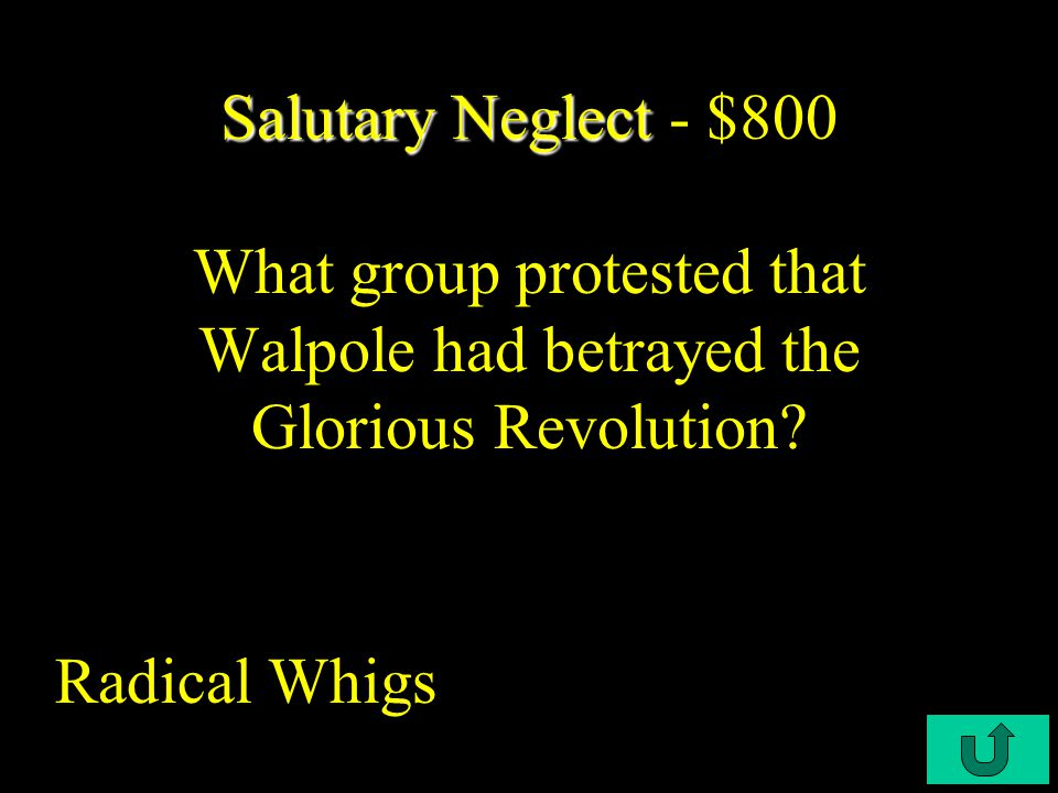 C3-$300 Salutary Neglect Salutary Neglect - $600 Who was the Whig leader in the House of Commons from 1720 to 1742.