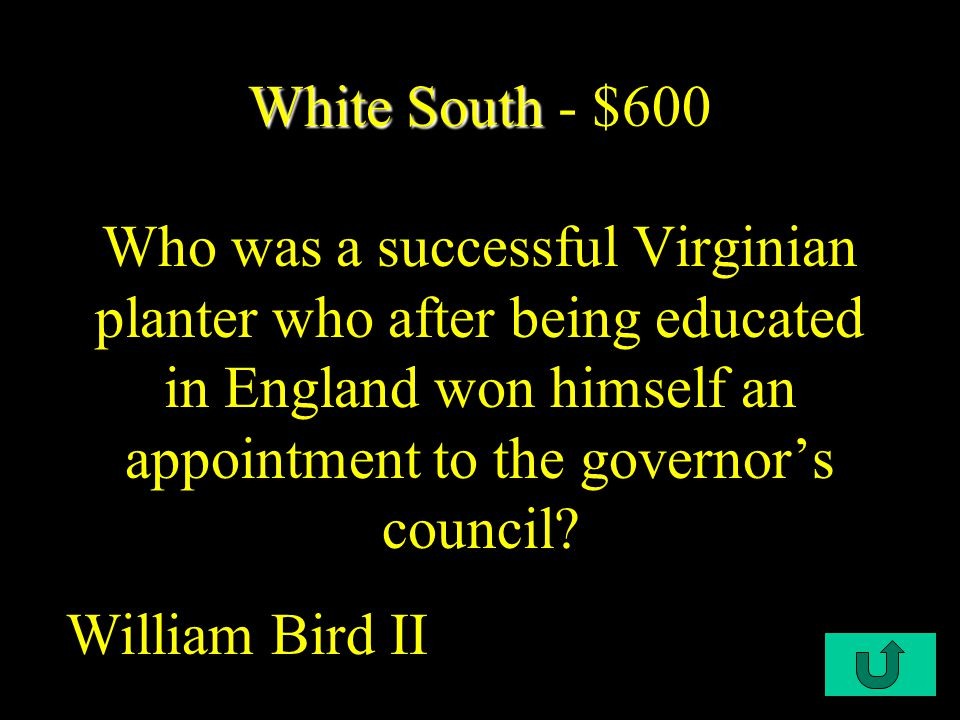 C1-$200 White South White South - $400 Small-scale planters who owned just a few slaves were known as what.