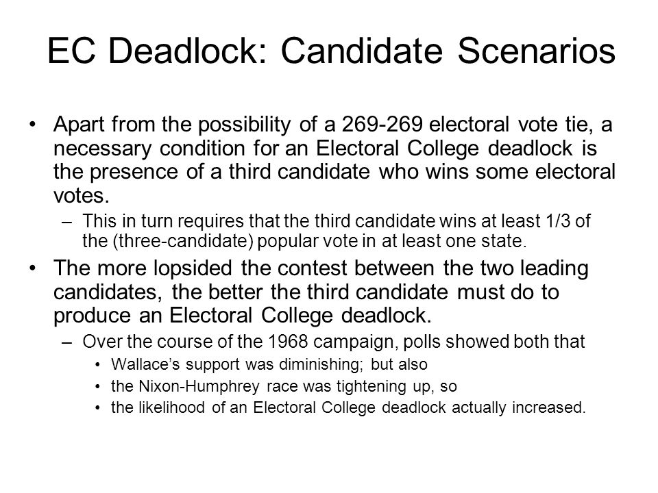 EC Deadlock: Candidate Scenarios Apart from the possibility of a 269-269 electoral vote tie, a necessary condition for an Electoral College deadlock is the presence of a third candidate who wins some electoral votes.