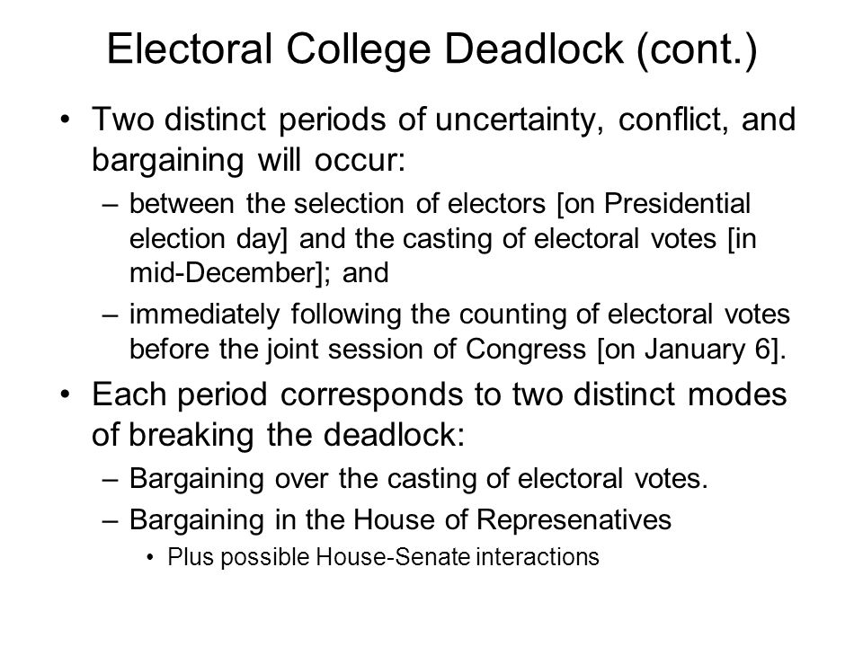 Electoral College Deadlock (cont.) Two distinct periods of uncertainty, conflict, and bargaining will occur: –between the selection of electors [on Presidential election day] and the casting of electoral votes [in mid-December]; and –immediately following the counting of electoral votes before the joint session of Congress [on January 6].