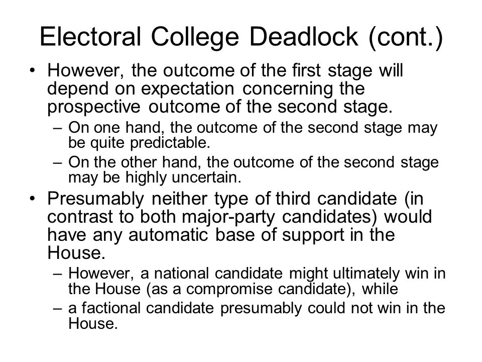 Electoral College Deadlock (cont.) However, the outcome of the first stage will depend on expectation concerning the prospective outcome of the second stage.