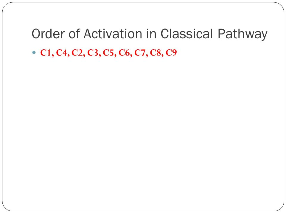 Order of Activation in Classical Pathway C1, C4, C2, C3, C5, C6, C7, C8, C9