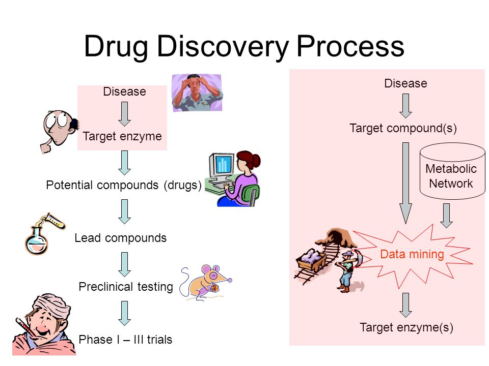 Drug Discovery Process Disease Target enzyme Potential compounds (drugs) Lead compounds Preclinical testing Phase I – III trials Disease Target enzyme(s) Target compound(s) Metabolic Network Data mining