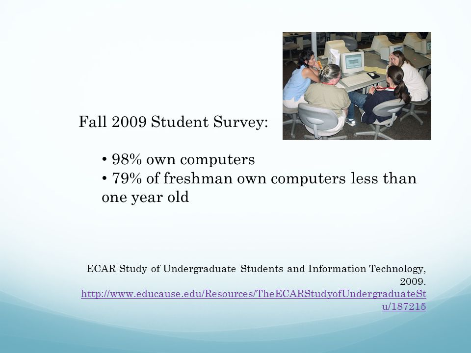 Fall 2009 Student Survey: 98% own computers 79% of freshman own computers less than one year old ECAR Study of Undergraduate Students and Information