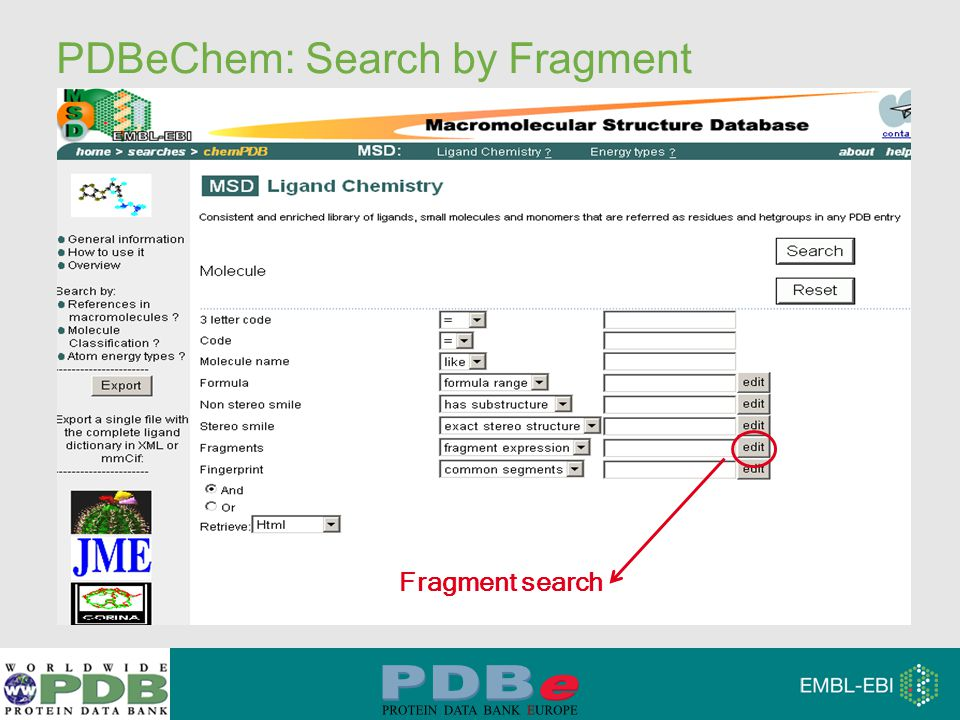 PDBeChem: Search by Fragment Fragment search