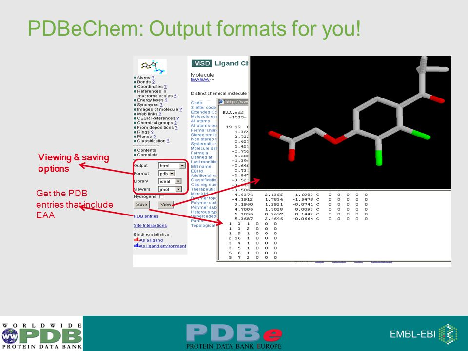 PDBeChem: Output formats for you! Get the PDB entries that include EAA Viewing & saving options