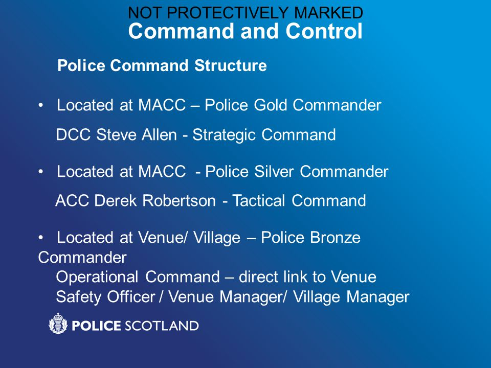 NOT PROTECTIVELY MARKED Command and Control Located at MACC – Police Gold Commander DCC Steve Allen - Strategic Command Located at MACC - Police Silver Commander ACC Derek Robertson - Tactical Command Located at Venue/ Village – Police Bronze Commander Operational Command – direct link to Venue Safety Officer / Venue Manager/ Village Manager Police Command Structure