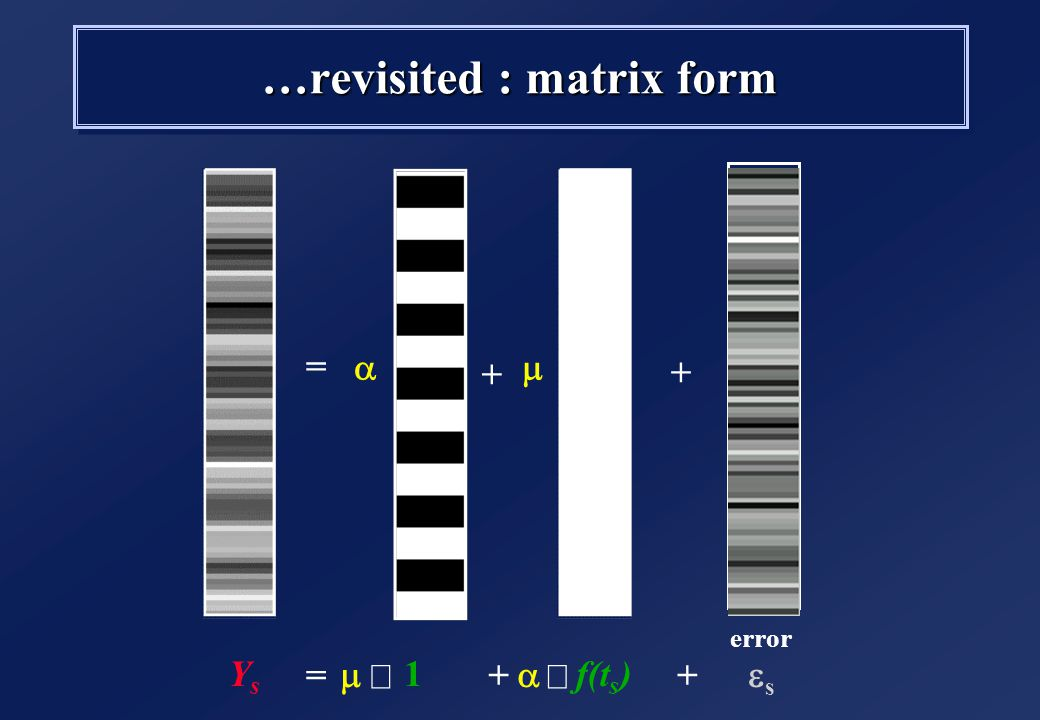 …revisited : matrix form =  + + ss =  ++ f(t s )1YsYs error 