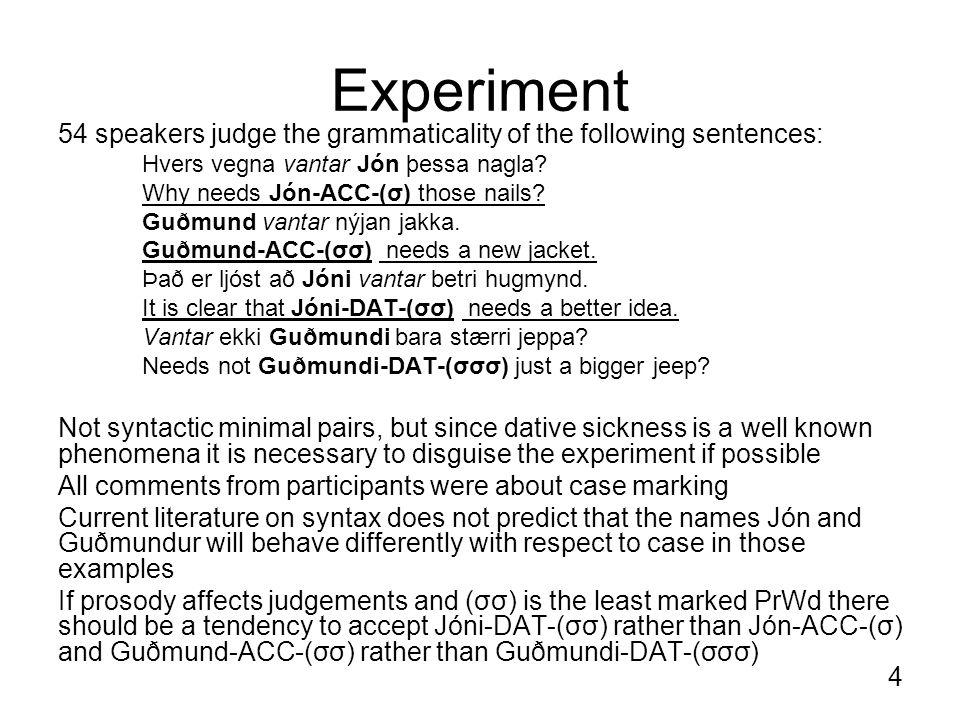 4 Experiment 54 speakers judge the grammaticality of the following sentences: Hvers vegna vantar Jón þessa nagla.