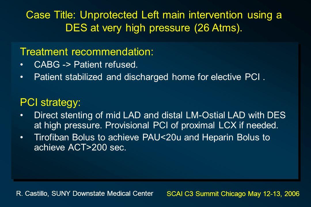 Treatment recommendation: CABG -> Patient refused.