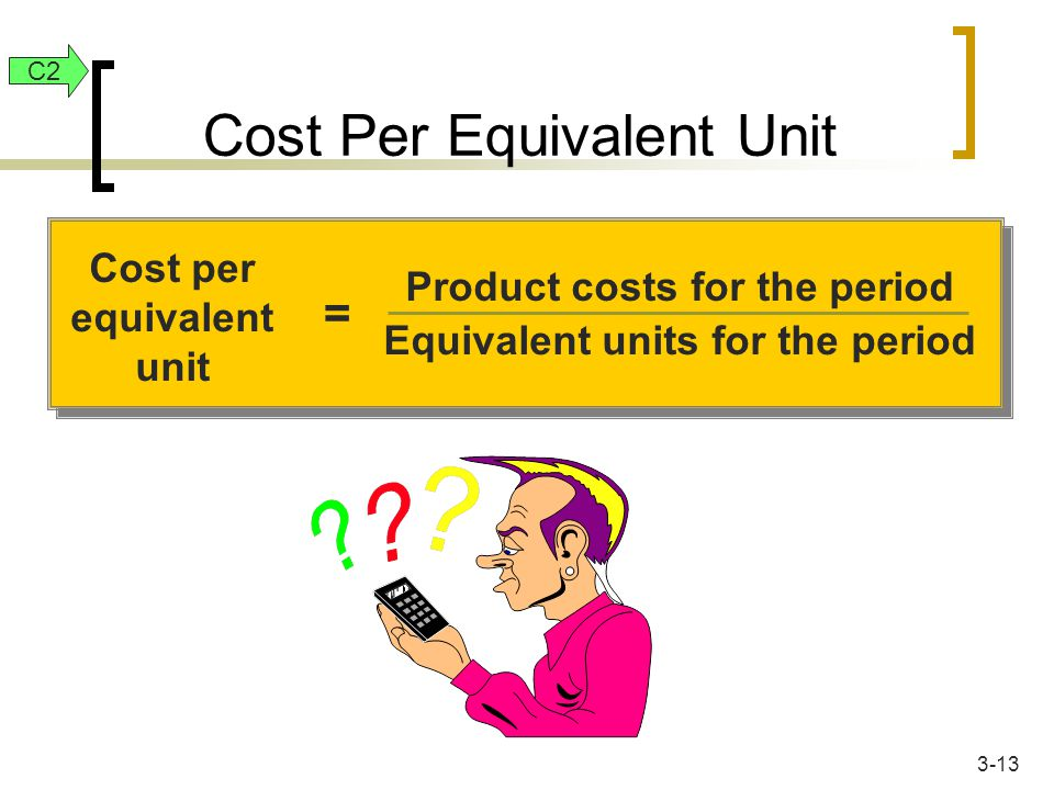 Cost per equivalent unit = Product costs for the period Equivalent units for the period Cost Per Equivalent Unit C2 3-13