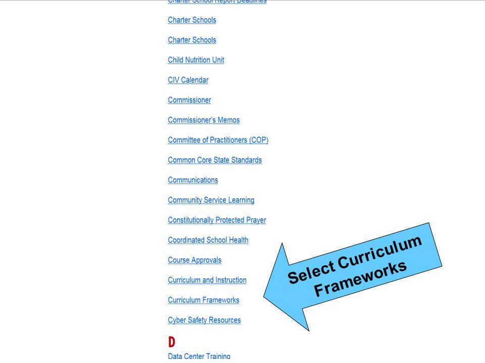 Select Curriculum Frameworks