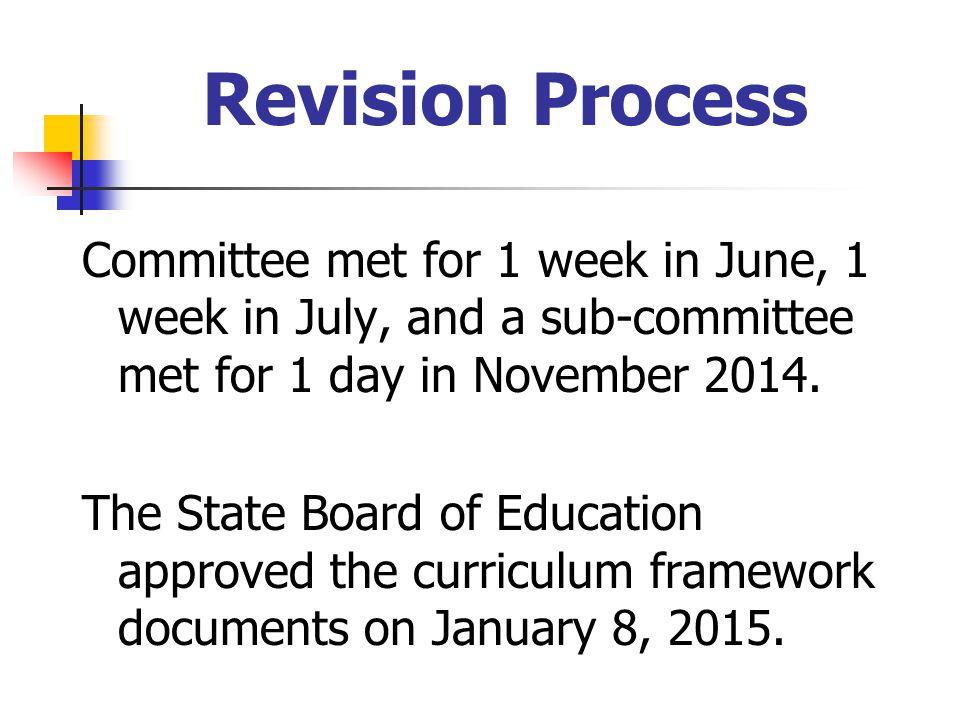 Revision Process Committee met for 1 week in June, 1 week in July, and a sub-committee met for 1 day in November 2014.