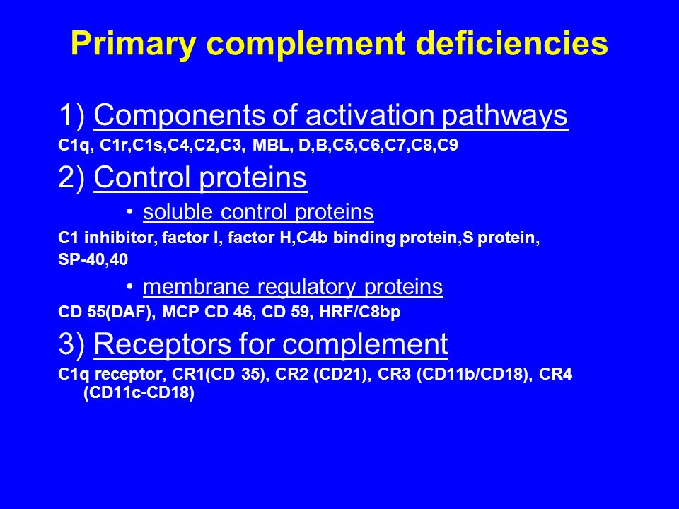 Primary complement deficiencies 1) Components of activation pathways C1q, C1r,C1s,C4,C2,C3, MBL, D,B,C5,C6,C7,C8,C9 2) Control proteins soluble control proteins C1 inhibitor, factor I, factor H,C4b binding protein,S protein, SP-40,40 membrane regulatory proteins CD 55(DAF), MCP CD 46, CD 59, HRF/C8bp 3) Receptors for complement C1q receptor, CR1(CD 35), CR2 (CD21), CR3 (CD11b/CD18), CR4 (CD11c-CD18)