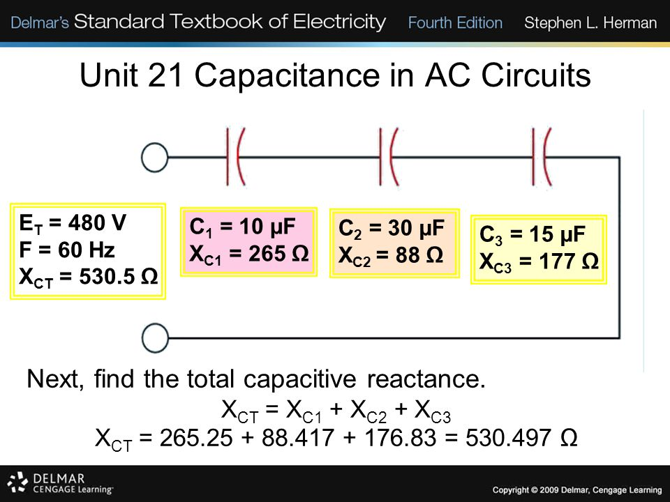 Unit 21 Capacitance in AC Circuits Next, find the total capacitive reactance.