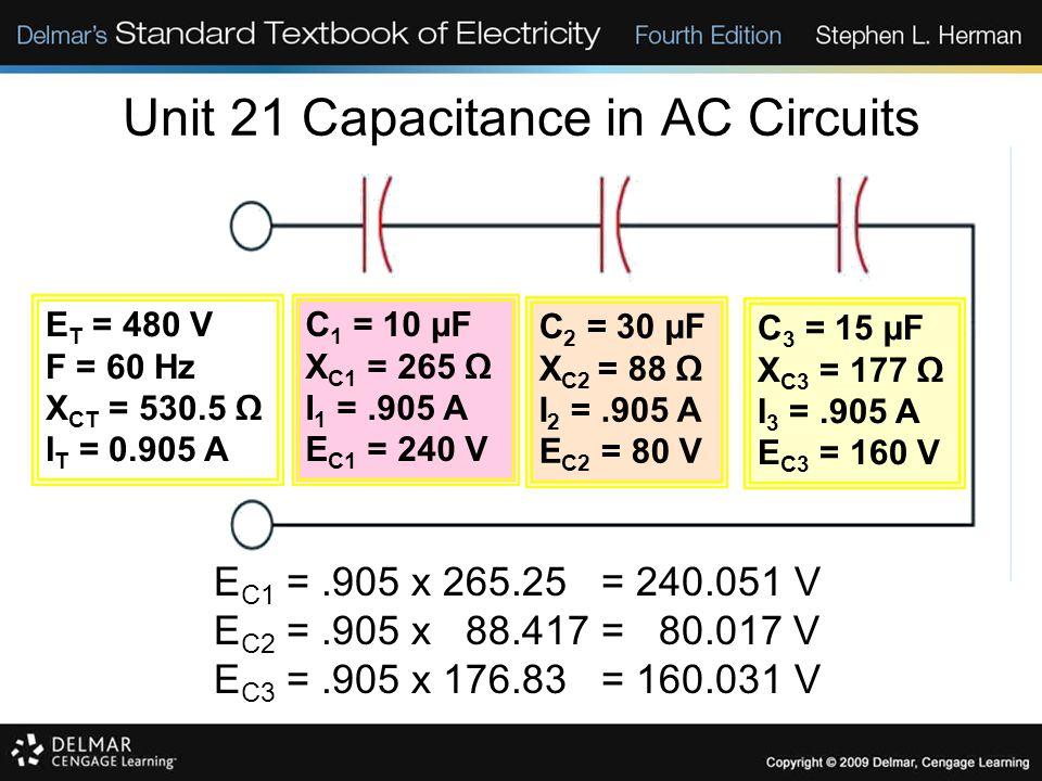 Unit 21 Capacitance in AC Circuits E C1 =.905 x 265.25 = 240.051 V E C2 =.905 x 88.417 = 80.017 V E C3 =.905 x 176.83 = 160.031 V E T = 480 V F = 60 H