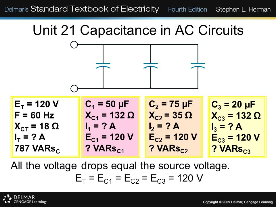 Unit 21 Capacitance in AC Circuits All the voltage drops equal the source voltage.