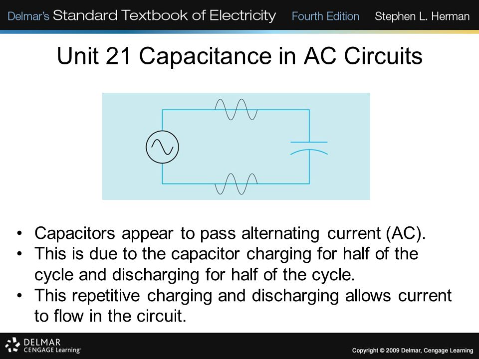 Unit 21 Capacitance in AC Circuits Capacitors appear to pass alternating current (AC).