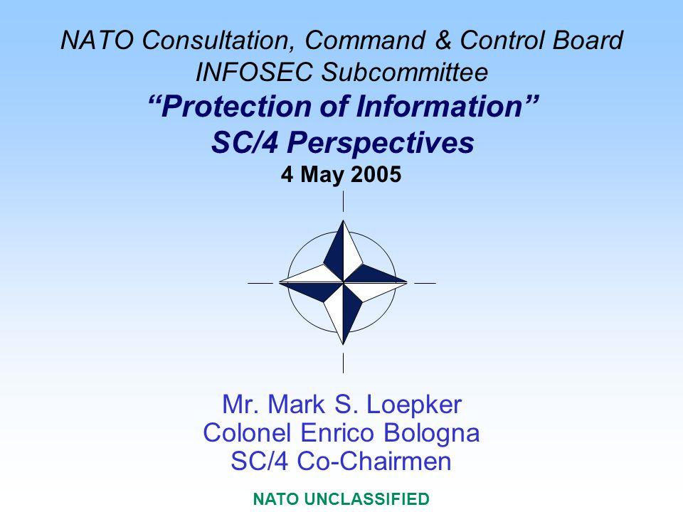 NATO C 3 Staff/IB NATO UNCLASSIFIED 2 Protecting Information Protecting Information INFOSEC Subcommittee SC/4 NOS Multiple Bodies