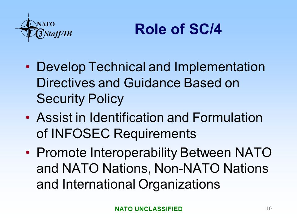 NATO C 3 Staff/IB NATO UNCLASSIFIED 10 Role of SC/4 Develop Technical and Implementation Directives and Guidance Based on Security Policy Assist in Id