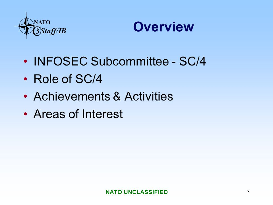 NATO C 3 Staff/IB NATO UNCLASSIFIED 14 2004 Achievements (Continued) Education and Training Requirements for INFOSEC Personnel Criteria for NNN Structures, Rules and Procedures Strategy on Non-NATO Cryptographic Confidentiality Issues – Implementation Plan INFOSEC Course for NNN and IO NATO Public Key Infrastructure Reference Architecture