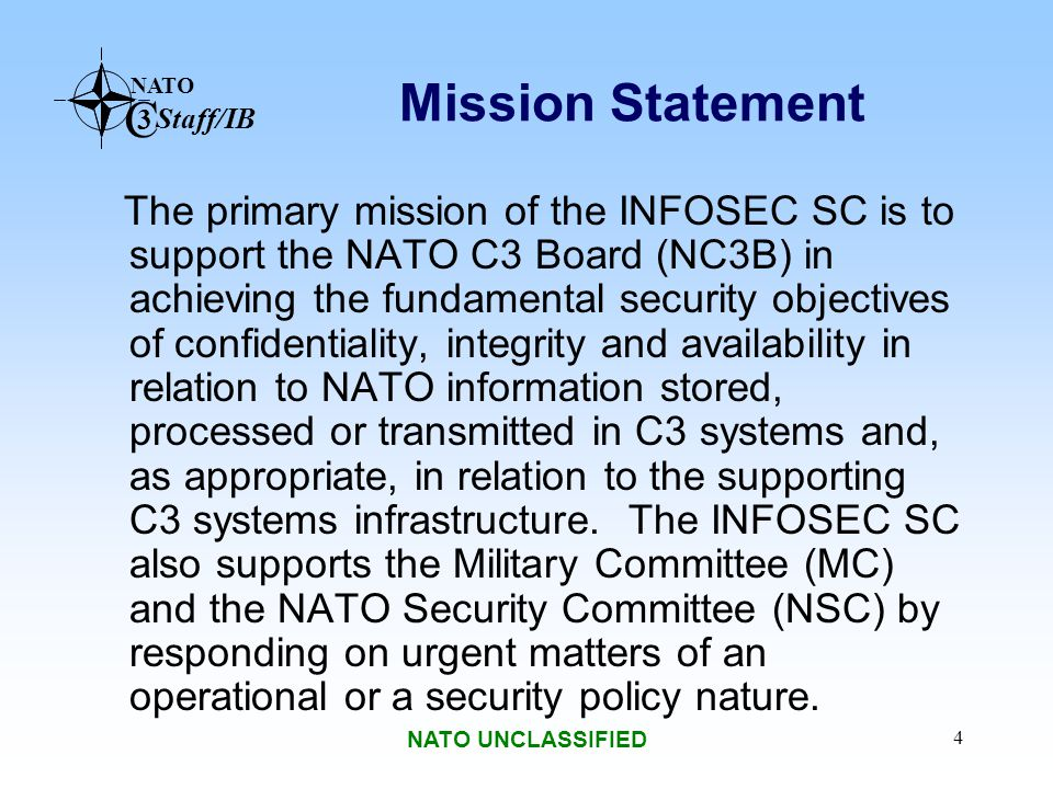 NATO C 3 Staff/IB NATO UNCLASSIFIED 5 SC/4 Composition 26 Member National Representatives Strategic Commands & Agencies: –Supreme Headquarters Allied Powers Europe (SHAPE) / ACO –Supreme Allied Command Transformation (SACT) –NATO Office of Security (NOS) –NATO CIS Support Agency (NCSA) –NATO C3 Agency (NC3A) –NATO ACCS Management Agency (NACMA) –SECAN, DACAN, EUSEC, EUDAC Secretariat: –Co-Chairmen (Staff and Nationally Elected) –Secretary