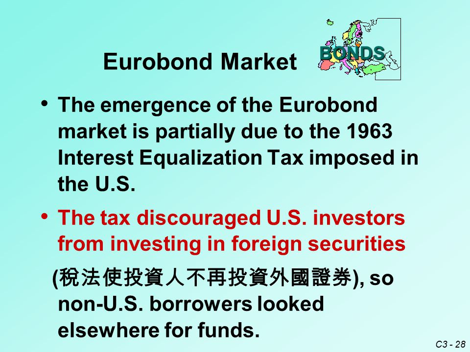 C3 - 28 The emergence of the Eurobond market is partially due to the 1963 Interest Equalization Tax imposed in the U.S.