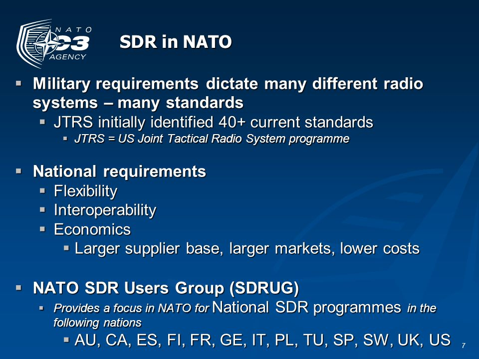 18 Testing SDR: Hardware & Software  Testing involves many aspects, these may include:  Conformance – to the standards, both SDR implementation and conformance to the radio standard  Interoperability - with other implementations  Access to the propagation mechanism – this may be an increasing issue with CR.