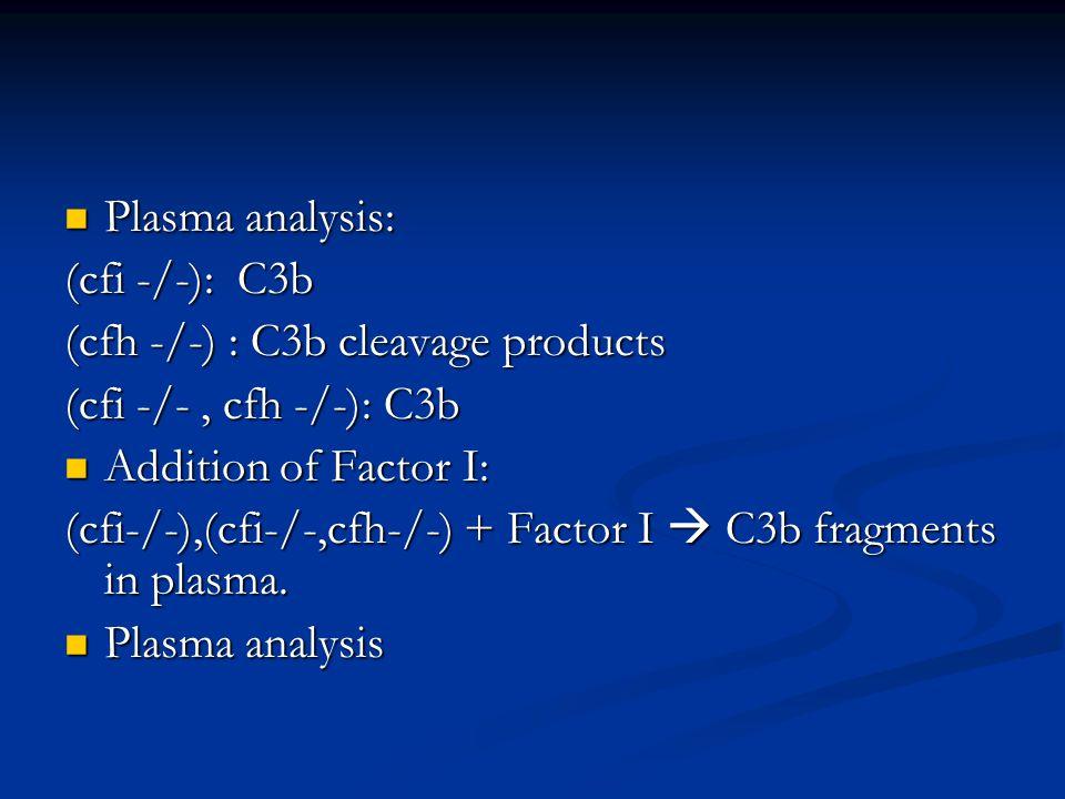 Plasma analysis: Plasma analysis: (cfi -/-): C3b (cfh -/-) : C3b cleavage products (cfi -/-, cfh -/-): C3b Addition of Factor I: Addition of Factor I: (cfi-/-),(cfi-/-,cfh-/-) + Factor I  C3b fragments in plasma.
