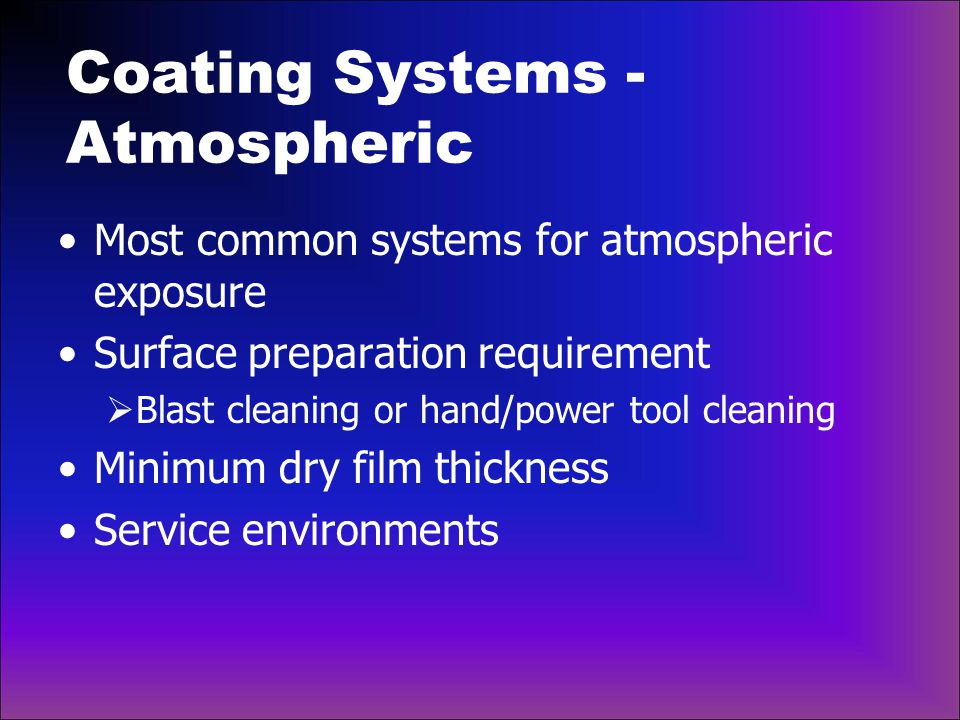 Coating Systems - Atmospheric Service environments per ISO 12944-2, Classification of Environments  C2: Low  C3: Medium  C5-I: Very High, Industry  C5-M: Very High, Marine
