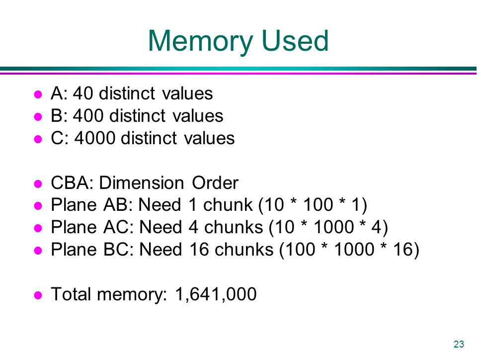 23 Memory Used l A: 40 distinct values l B: 400 distinct values l C: 4000 distinct values l CBA: Dimension Order l Plane AB: Need 1 chunk (10 * 100 * 1) l Plane AC: Need 4 chunks (10 * 1000 * 4) l Plane BC: Need 16 chunks (100 * 1000 * 16) l Total memory: 1,641,000