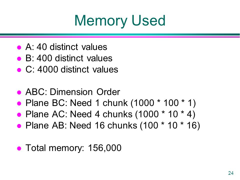 24 Memory Used l A: 40 distinct values l B: 400 distinct values l C: 4000 distinct values l ABC: Dimension Order l Plane BC: Need 1 chunk (1000 * 100 * 1) l Plane AC: Need 4 chunks (1000 * 10 * 4) l Plane AB: Need 16 chunks (100 * 10 * 16) l Total memory: 156,000