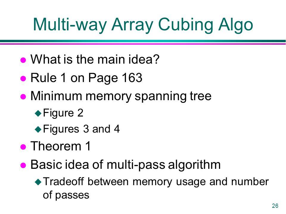 26 Multi-way Array Cubing Algo l What is the main idea? l Rule 1 on Page 163 l Minimum memory spanning tree u Figure 2 u Figures 3 and 4 l Theorem 1 l