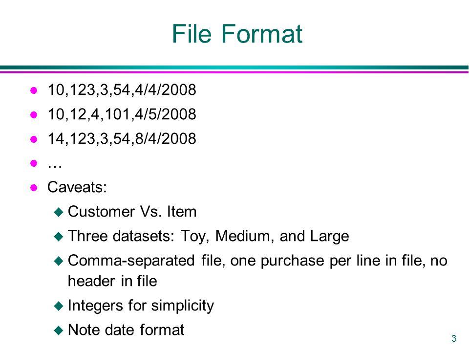 3 File Format l 10,123,3,54,4/4/2008 l 10,12,4,101,4/5/2008 l 14,123,3,54,8/4/2008 l … l Caveats: u Customer Vs. Item u Three datasets: Toy, Medium, a