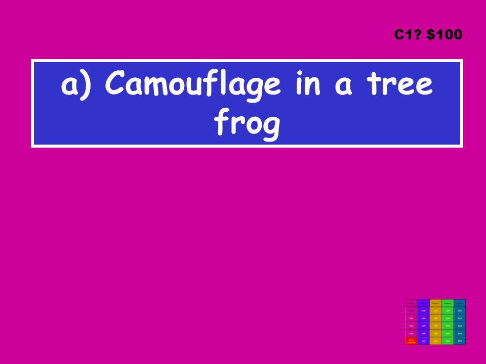 a) Camouflage in a tree frog C1 $100