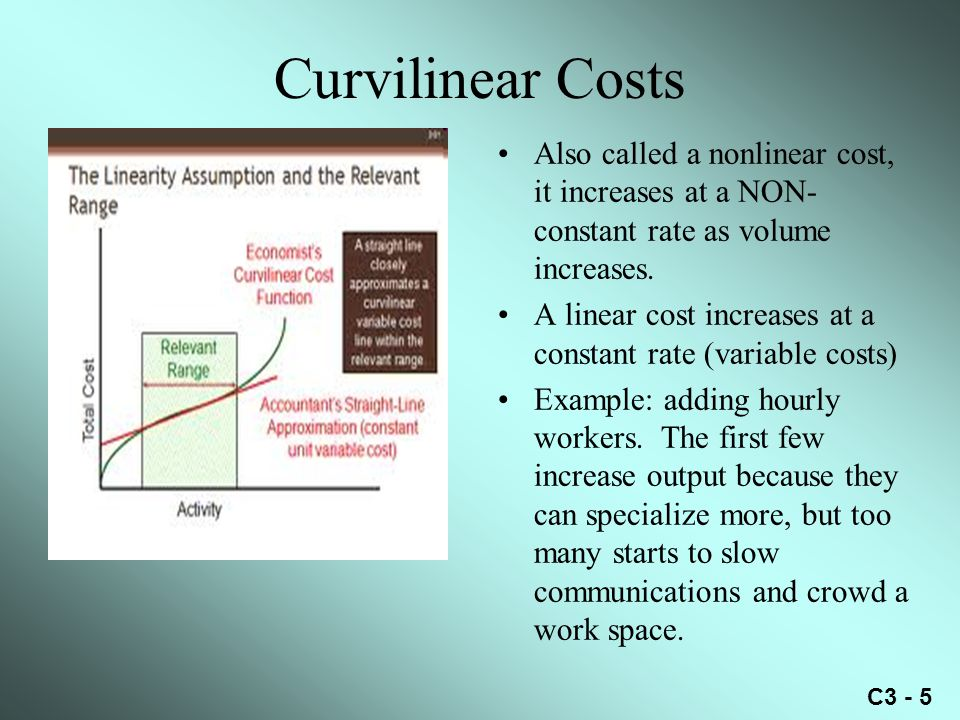 C3 - 5 Curvilinear Costs Also called a nonlinear cost, it increases at a NON- constant rate as volume increases.
