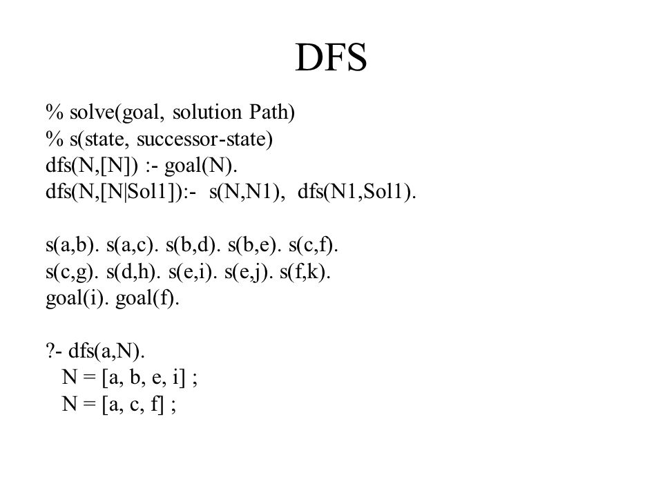 DFS % solve(goal, solution Path) % s(state, successor-state) dfs(N,[N]) :- goal(N).