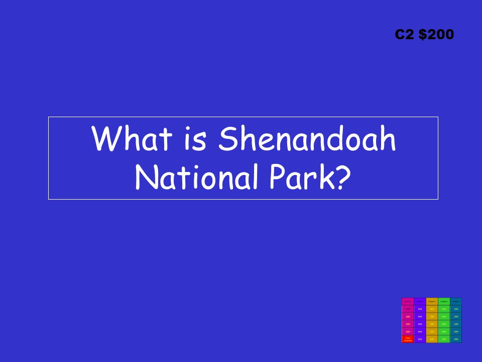 C2 $200 What is Shenandoah National Park