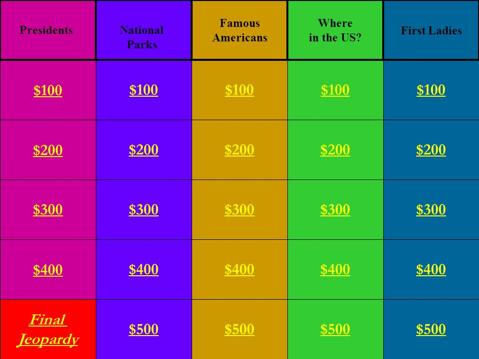 $200 $300 $400 Final Jeopardy $100 $200 $300 $400 $500 $100 $200 $300 $400 $500 $100 $200 $300 $400 $500 $100 $200 $300 $400 $500 $100 Famous Americans Where in the US.
