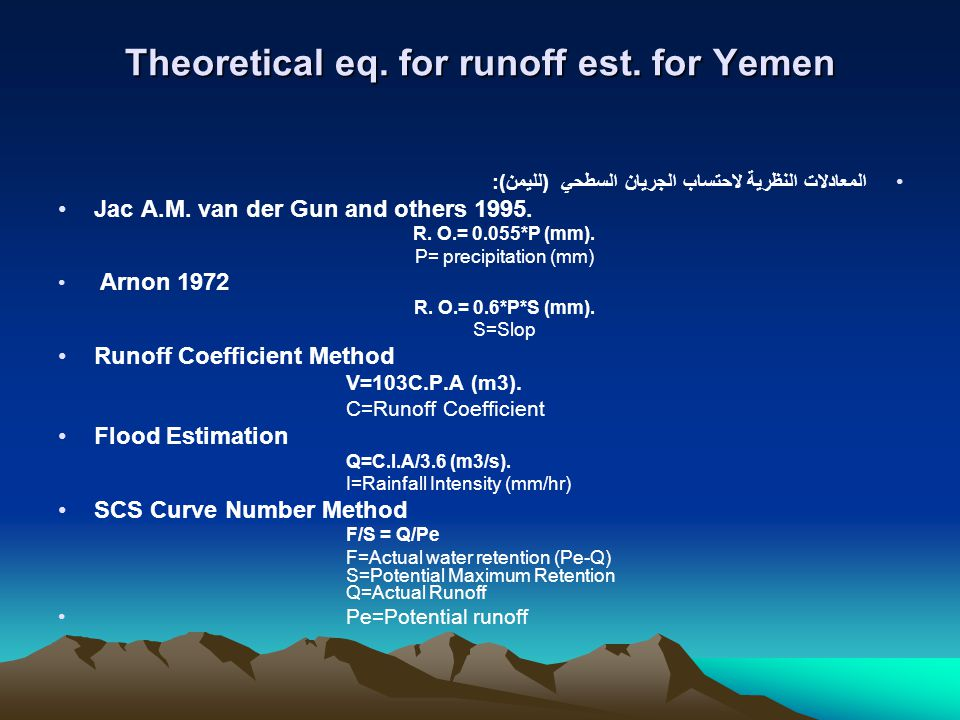Theoretical eq.for runoff est.