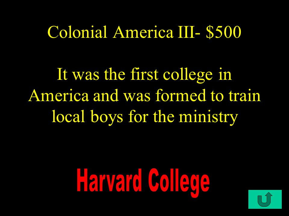 C3-$400 Colonial America III- $400 It was the first constitution in the colonies which allowed men to vote for the governor