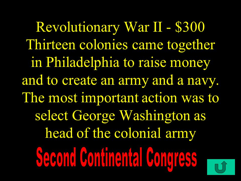 C4-$200 Revolutionary War II - $200 These acts closed the port of Boston, sent troops and the British Navy to stop trade from Boston, and ended town meetings