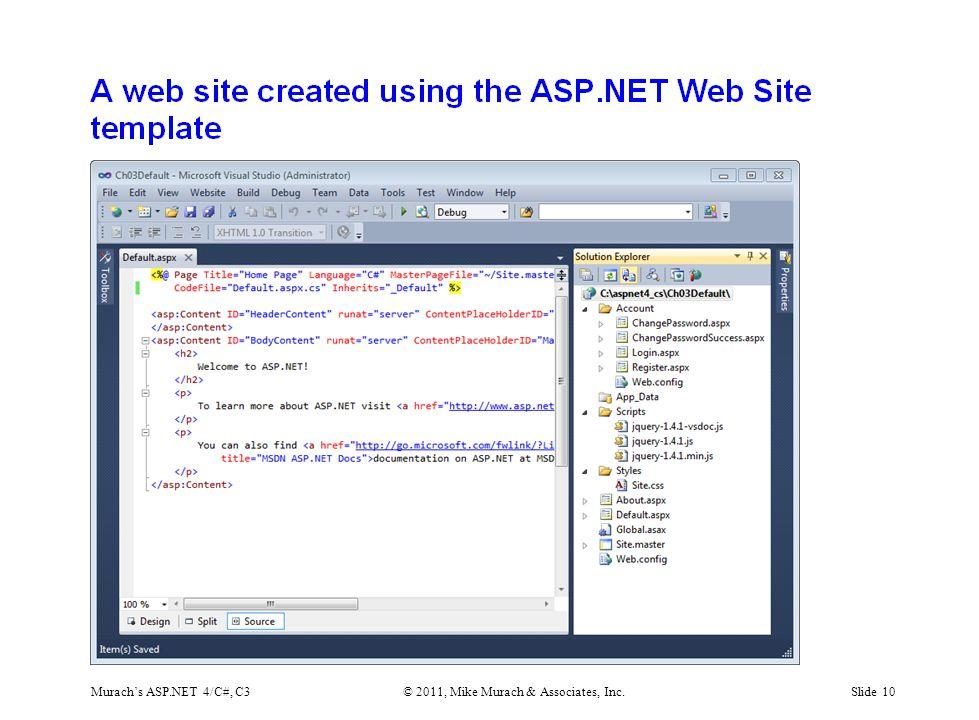 Murach's ASP.NET 4/C#, C3© 2011, Mike Murach & Associates, Inc.Slide 10