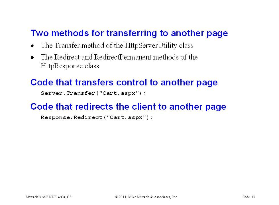Murach's ASP.NET 4/C#, C3© 2011, Mike Murach & Associates, Inc.Slide 13